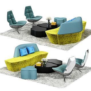 休闲沙发茶几组合3d模型