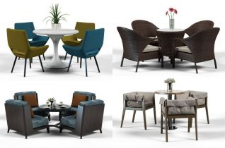 休闲桌椅组合3d模型