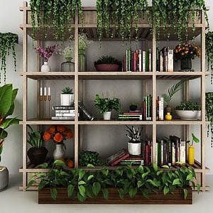 现代植物装饰架绿植盆栽模型