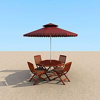 室外休闲桌椅遮阳伞3d模型