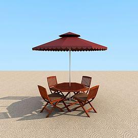 室外休闲桌椅遮阳伞模型