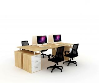 四人位办公桌3d模型