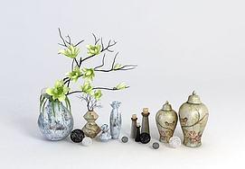 中式瓶罐绿树枝模型
