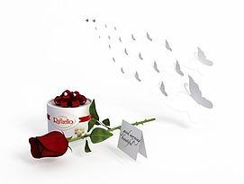 3d礼盒玫瑰模型