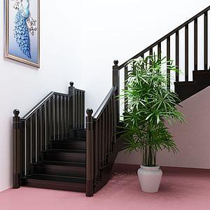 后现代黑金楼梯护栏楼梯模型