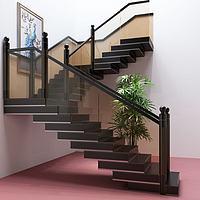 现代玻璃楼梯护栏阁楼楼梯3d模型