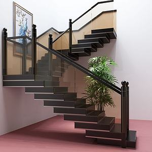 现代玻璃楼梯护栏阁楼楼梯模型