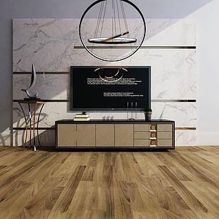 现代电视柜电视墙组合3d模型