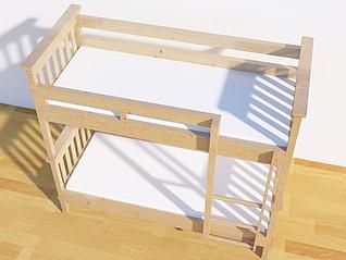 实木上下床3d模型