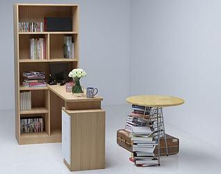 办公及书桌组合3d模型