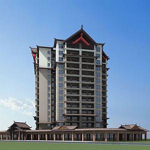 傣族風格高層建筑模型3d模型
