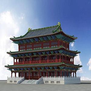 3d古建大殿三層模型