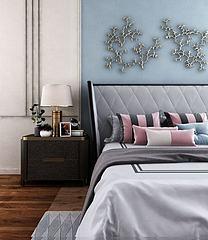 轻奢双人床床头柜组合模型3d模型