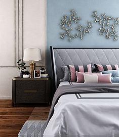 轻奢双人床床头柜组合模型