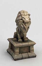 魔兽世界门头石狮子模型