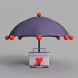 游戏场景雨伞装饰模型