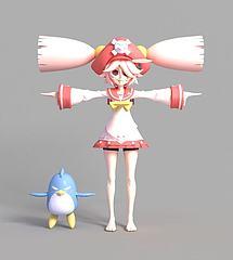 游戏女生角色模型3d模型