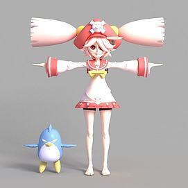 3d游戏女生角色模型