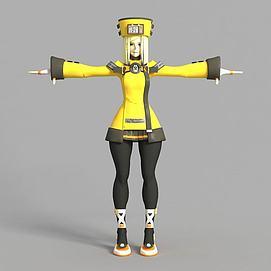 3d游戏女子角色造型模型