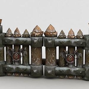 WOW魔兽道具场景木桩木门模型