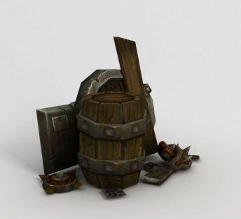 WOW魔兽场景道具木桶