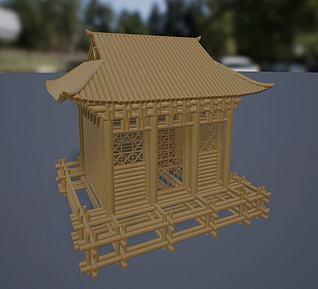 河北传统手工技艺秸秆扎刻3d模型
