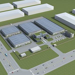 3d廠房辦公樓模型