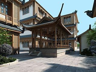 新中式客栈亭子建筑3d模型