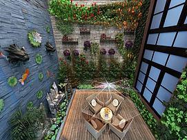 景观园林景观墙水幕墙模型