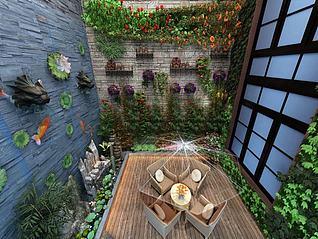 景观园林景观墙水幕墙3d模型