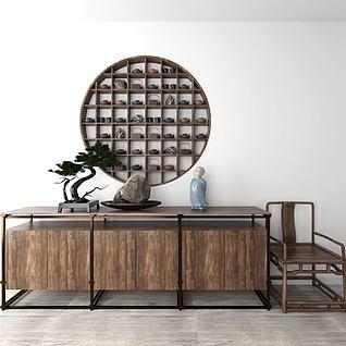 新中式边柜椅子组合玄关柜3d模型