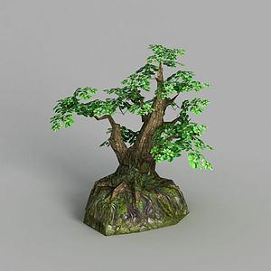 3d游戲場景樹木裝飾模型