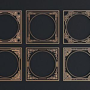 新中式金属花格窗组合模型