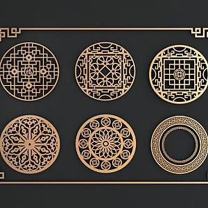 中式圓形鏤花窗模型3d模型
