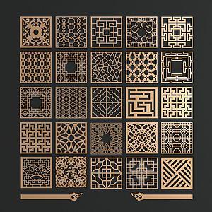 中式金属花格窗组合模型