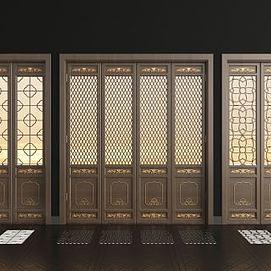 新中式折叠门组合模型
