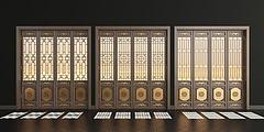 新中式实木花格门组合模型3d模型