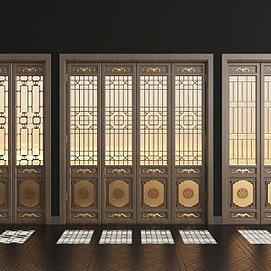 新中式实木花格门组合模型