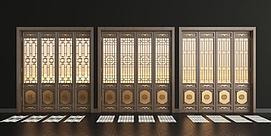 3d新中式实木花格门组合模型