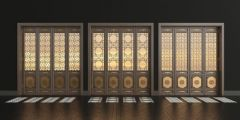新中式实木花格折叠门组合模型3d模型