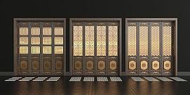 新中式实木花格折叠门组合模型