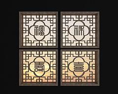 中式实木花格镂花窗组合模型3d模型