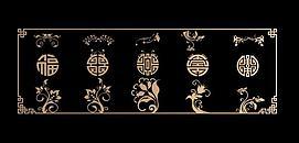 中式传统图案镂花组合模型