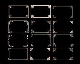 中式角花角线花格组合模型