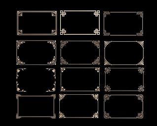 中式角花角线花格组合3d模型