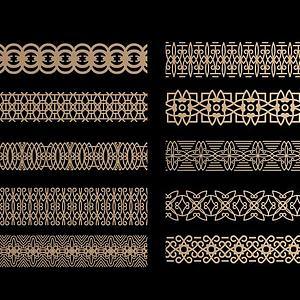 中式花格腰线组合模型