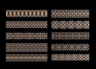 中式花格腰线组合3d模型
