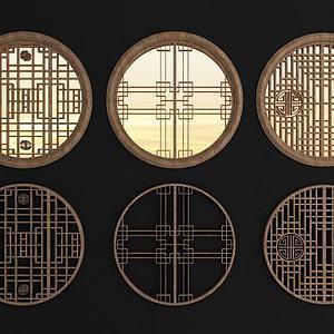 中式实木圆?#20301;?#26684;窗组合模型