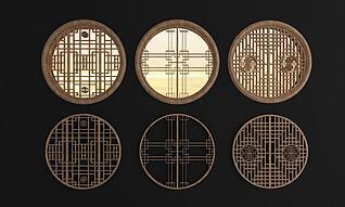 中式实木圆形花格窗组合3d模型