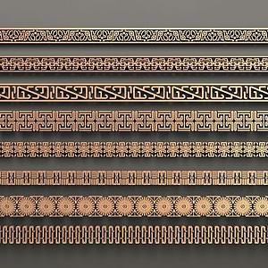 中式花格腰线模型